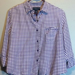 Tops - Preston & York Petites Purple Plaid Button Up Top